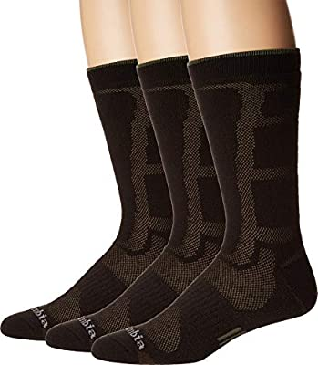 Columbia Poly Mesh Vent Cush Crew Socks, 3-Pair (Shoe Size 6-12 US Men's), Brown/Brown/Khaki