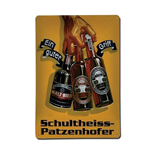 Cheyan Schultheiss Patzenhofer Bier Flaschen Metallschild Blechschild Aluminium Schilder 20,3 x 30,5 cm