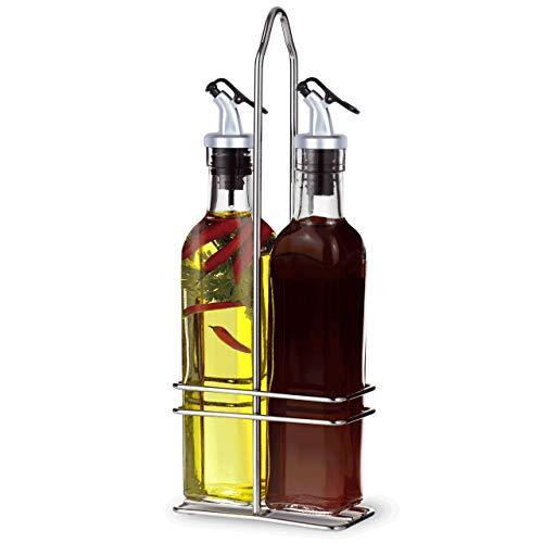 A|M|I|N|A Essig und Öl Spender Set - 3-teilig, 2 Ölflaschen und Halterung | Auslaufsicher und Tropffrei | mit Anti-Schmutz Verschluss (500 ml)