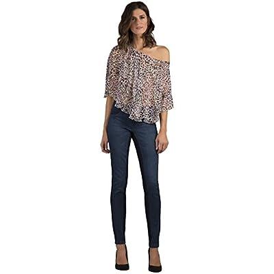 Women's Blue Stretch Denim Front Floral Print Premium Jeans