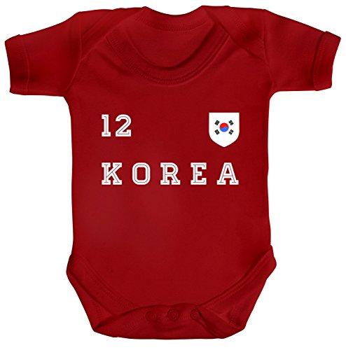 ShirtStreet Wappen Fußball WM Fanfest Gruppen Strampler Bio Baumwoll Baby Body kurzarm Jungen Mädchen Trikot Korea, Größe: 3-6 Monate,Red