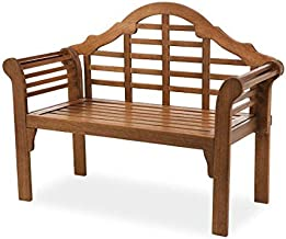 Plow & Hearth 62A79-NT Lutyens Eucalyptus Wood Garden Bench, Natural