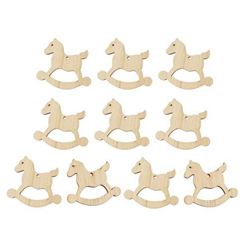 Happyyami 10 Pezzi appesi a Decorazioni in Legno per Albero di Natale Ornamenti in Legno incompiuto a Forma di Intagli di Cavallo a Dondolo fette di Legno per la Pittura Artigianale Fai da Te