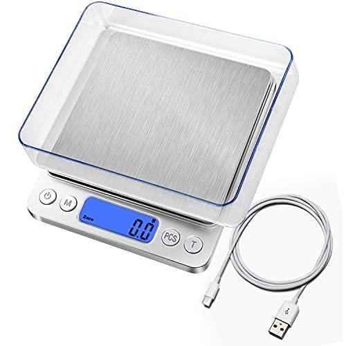 Balance de cuisine numérique avec chargement USB, balance numérique 0,1 g/3 kg, balance de précision électronique, fonction PSC/Tare / écran LCD, 9 unités de conversion pèse-lettre, balance de poche