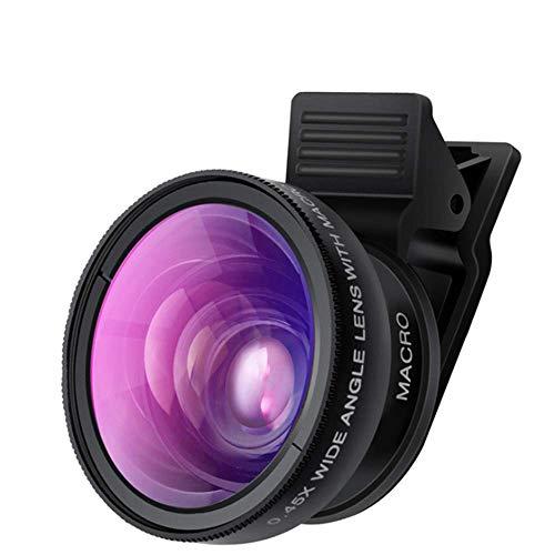 YWT Mobiele Telefoon Camera Lens, 0.45x Wijde Hoek Lens, Wijde Hoek en Macro Lens, voor iPhone X XR XS Max 8 7 6S Plus Samsung S9 S8 en Android Phone