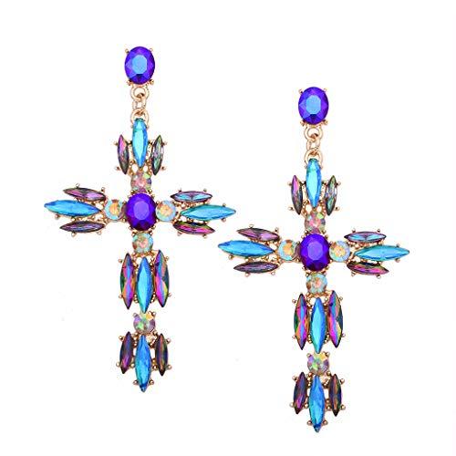 ZHINTE Earrings Boho Crystal Cross Barroco Bohemio Grandes Pendientes Largos para Mujeres niñas