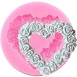 KFYOUXIN Stampo in Silicone Ghirlanda di Rose Stampo in Silicone a Forma di Cuore Stampo per Cupcake Topper Strumenti per Decorare Torta Nuziale Stampi per Caramelle al Cioccolato Gumpaste