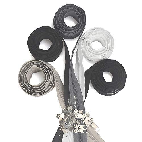 Annvchi Endlosreißverschluss mit Zipper, 2 m Zipper für Reißverschluss 5 mm, Mit Kettenkopf und Endstück, Spiralförmig, Trennbar, 5 Streifen 4 Farben, für Röcke, Rucksack, Heimtextilien
