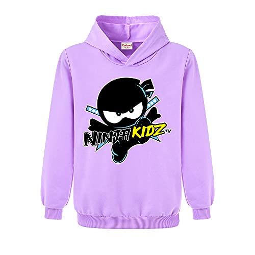 Ninja Kidz Kinder Sport Hoodie Mädchen Print Pullover Jungen Top, violett, 7-8 Jahre