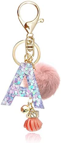OKAICEN Pink Purple Resin Alphabet Initial Letter Keychain Key Ring for Women Grils Purse Handbags product image