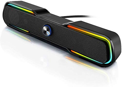 Computer Speakers, ARCHEER PC RGB Gaming Speakers USB Powered Wired Computer Soundbar with Enhanced Stereo Bass LED Light,Dual-Channel Desktop Speakers for PC Laptop Tablet Smartphones (Black)