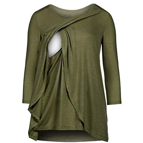 WEIMEITE Femmes Vêtements De Maternité Comfy Manches Longues Chemises Allaitement Et des Hauts Allaitement Army Green 2XL