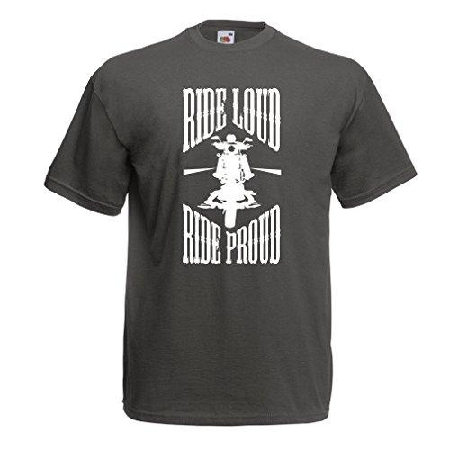 lepni.me N4695 T-Shirt da Uomo Ride Loud! (Medium Grafite Multicolore)