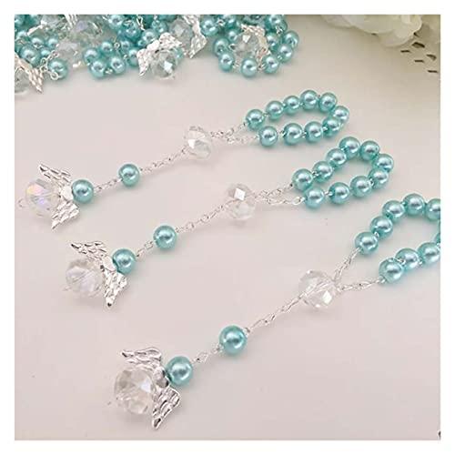 HUALIAN Pulsera El Bautismo favores de la Rosa de la comunión de los favores de Oro Chapado Dedo Rosarios Bautizo favores de Cristales de Perlas (Metal Color : Blue)