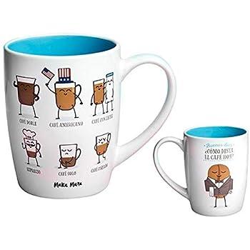 MAKUMURA Tazas de Desayuno Originales y Divertidas-Taza con Mensaje Gracioso - Cerámica 330 ml (como Desea el Cafe Hoy): Amazon.es: Hogar
