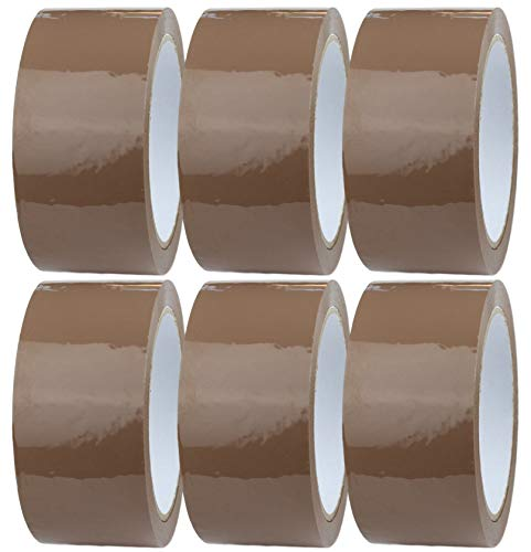 Packing Tape/Parcel Tape - 6 Rolls of Brown Tape 48mm x 66m, Packing Tape Strong for Moving House, Packing Parcels, Cardboard Boxes & Cartons by Crimson Starfish