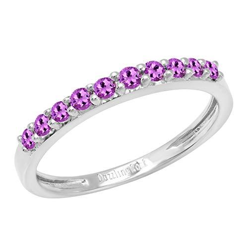 Dazzlingrock Collection - Alianza de boda de aniversario para mujer, diseño de piedras preciosas, oro blanco de 18 quilates