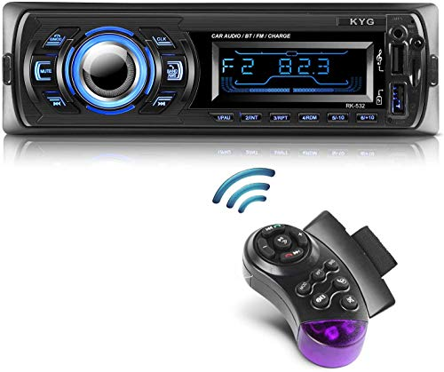 Autoradio Bluetooth Main Libre KYG Radio Voiture avec 2 Ports USB et MMC Card Slot, Supporte Max 32G...