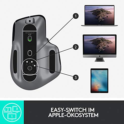 Logitech MX Master 3 – Die fortschrittliche, kabellose Maus für Mac, Ultraschnelles Scrollen, ergonomisches Design, 4.000 DPI, individualisierbar, USB-C, Bluetooth, für MacBook und iPad, Grau - 12