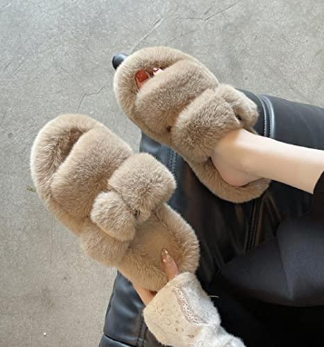 FFAA Las Zapatillas De Lana De Fondo Grueso para Mujer Usan Chanclas De Punta Abierta con Hebilla De Cinturón En Otoño E Invierno-Caqui_38