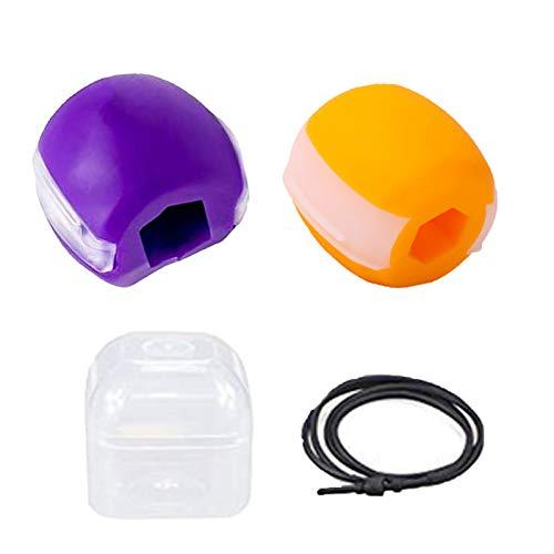 YYDD 2 unids por Paquete Jaw Muscle Trainer Jawline Ejercicio Fitness Ball Toner Facial Toner Jaw Alineación Trainer Jaw Silicone Cheishter, Portable, Mejorar la línea de Purple yellow-60 pounds
