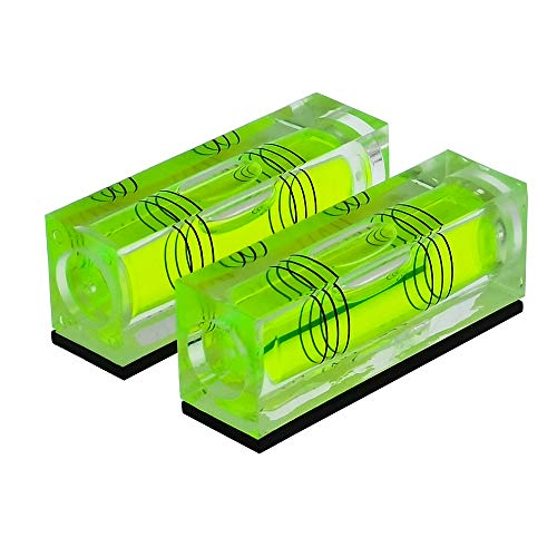 High Precision Mini Level Bubble Small Horizontal Bubble Three Line Horizontal Pearl Level Magnetometer (522015mm Green magnetism 2PCS)