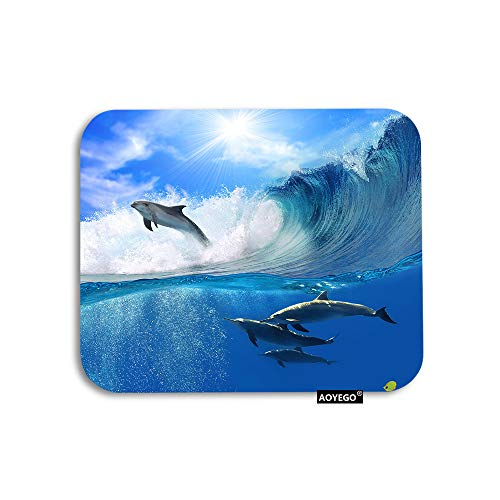 AOYEGO Dolphin Mouse Pad Ocean Animal Sea Sunlight Dolphins Underwater Waves Gaming Mousepad Rubber Large Pad Non-Slip for Computer Laptop Office Work Desk 9.5x7.9 Inch Blue