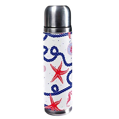 Botella de agua de acero inoxidable aislada al vacío, de 17 onzas, para deportes, café, viaje, termo, termo, cuero genuino, sin BPA, cuerda marina náutica, conchas de estrella de mar rojas, caballito de mar