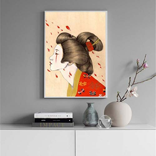 Danjiao Cuadro En Lienzo Cuadros Modernos Arte De La Pared Pintura Abstracta Japón Kimono Chica Decoración Para El Hogar Cartel De Estilo Nórdico Modular Para Sala De Estar Sala De Estar Deco 40x60cm