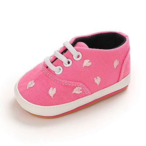 MASOCIO Babyschuhe Mädchen Lauflernschuhe Sneaker Baby Schuhe Anti-Rutsch Größe 18 3-6 Monate Rose