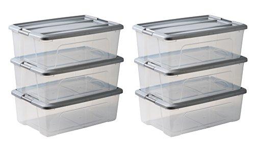 Amazon Basics 103435 Aufbewahrungsboxen 'New Top Box' 30 L, Plastik, Grau, 30 Liter