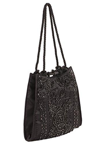 Pochette ACX 10 Nero, borsetta in tessuto con ricami in jaiss