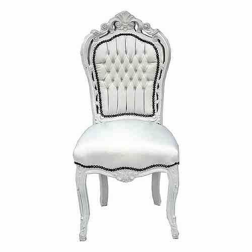 Barock Esszimmer Stuhl Weiß - Thron Sofa Möbel Rokoko Prunk Tron Prunkstuhl