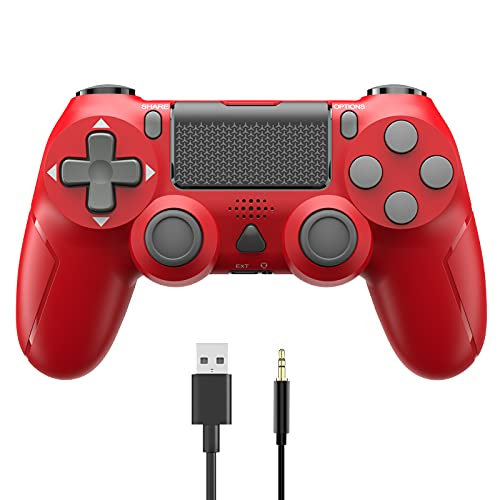 Game Controller for PS-4, YCCSKY 1000mAh Wireless Controller for PS-4/ PS-4 Slim/PS-4 Pro Console with Share Button/Ergonomic Design/Vbt Function (Red)