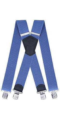 Ranger Hosenträger für Herren X-förmige 5cm breit verstellbar und elastisch mit einem sehr starken Clips (blau 1)