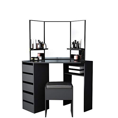 Corner Dressing Table Mirror Set Makeup Dresser Table with 5 Drawers and Stool Bedroom Dressing Desk Furniture (114 * 61 * 140cm)(Black)