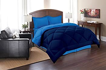Elegant Comfort Goose Down Alternative Reversible 3pc Comforter Set- Available In A Few Sizes And Colors Full/Queen Navy/Aqua