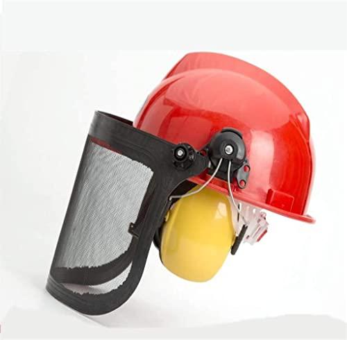 RTYUIO Casco de Trabajo Casco ForestalPantallaFacial de Seguridad Transparente,Visera Máscara de Pantalla Casco de Soldadura Salpicaduras antiarañazos con Orejeras Protectoras y Visera de Malla