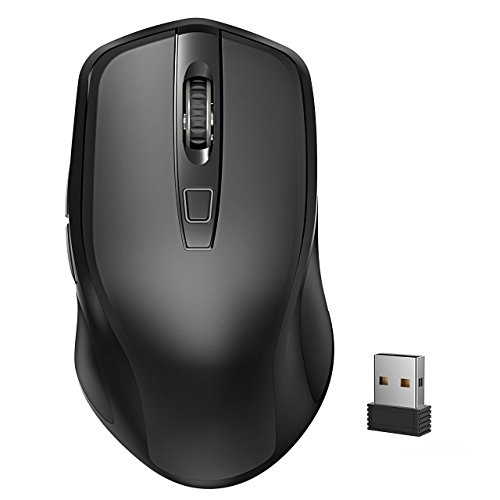 Yantop Wireless Mouse for Laptop, Full Size 2.4G Cordless Mouse with USB Nano Receiver, Power ON-Off Switch, 3 Adjustable DPI, Large 6-Button Mouse for Computer, Desktop, MacBook, Notebook,Black