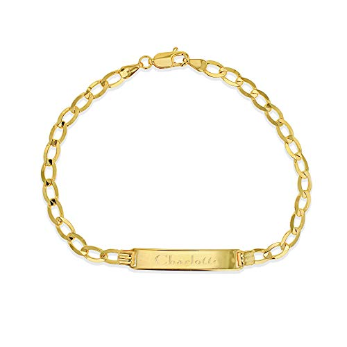 Carissima Gold Women's 9ct Yellow Gold 33mm x 7mm Flat 120 Curb ID Bracelet 19cm/7.5'