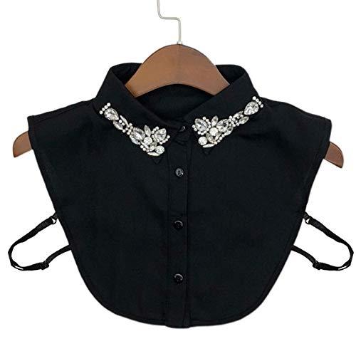 ZXF Falso señoras de Las Mujeres de Agua caída imitación de Cristal Gasa Collares joyería del Rhinestone de la Solapa Desmontable con Botones de Media Blusa de la Camisa (Color : BK)