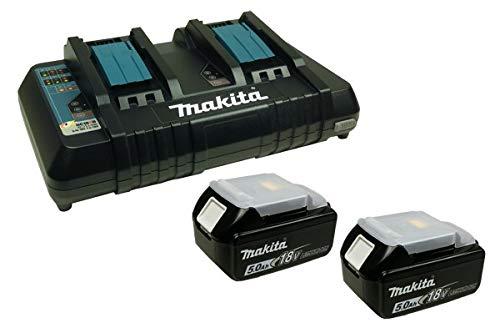 Makita Power Source Kit Li 18V mit 2x BL1850B Akku 5,0Ah + DC18RD Doppelladegerät (199482-2)