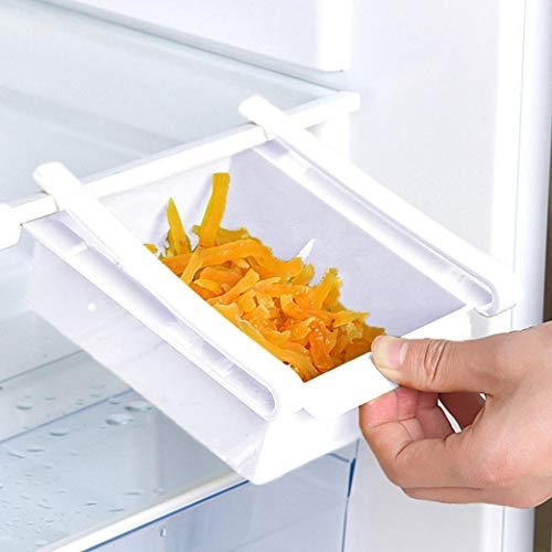 Refrigerator Organizer Bins, Pull-out Fridge Drawer Organizer, Freely Pullable Refrigerator Storage Box, Refrigerator Shelf Storage Rack, Food Container Kitchen Tools (White)