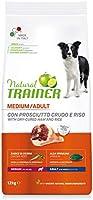 Natural Trainer - Cibo per cani adulti di media taglia, Alimento Secco con Prosciutto Crudo e Riso, 12kg