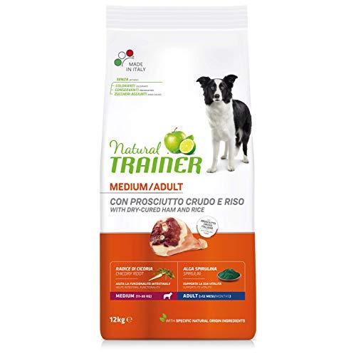 Natural Trainer Hundefutter für ausgewachsene Hunde, mittelgroß, Trockenfutter mit Schinken und Reis, 12 kg