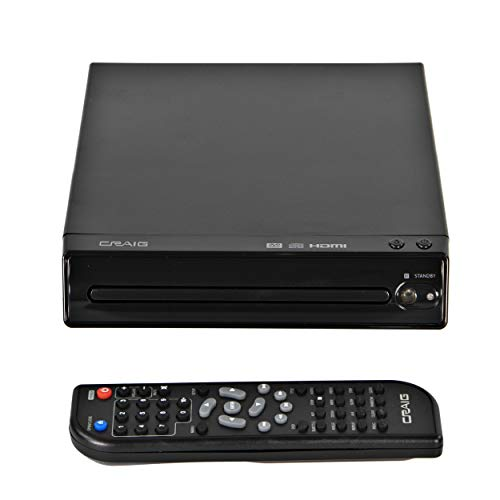 Craig CVD401A Compact HDMI DVD Player with Remote in Black | Compatible with DVD-R/DVD-RW/JPEG/CD-R/CD-R/CD | Progressive Scan | Up-convert to 1080p |