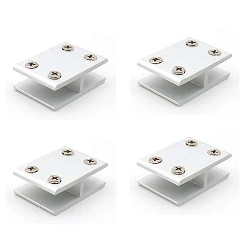 NUZAMAS - Juego de 4 abrazaderas de cristal de 180°, soporte de cristal a vidrio, abrazadera de vidrio de conexión en ambos lados para ducha, mesas, paneles, abrazadera de 10-12 mm