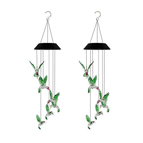 Lámpara de pared a prueba de polvo a prueba de agu Llevó la lámpara colibrí carillón de viento solar al aire libre Villa de color de la lámpara del jardín carillón de viento cambiante de dos component