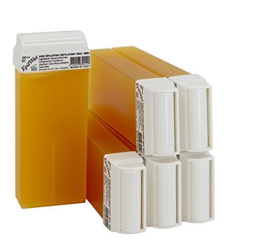 Epilwax 6 Cartuchos Roll-On de Cera Depilatoria Tibia Cera roll on de 100 ml Miel cera profesional de alta calidad para Depilación con Bandas Depilatorias des las piernas, axilas, y el cuerpo