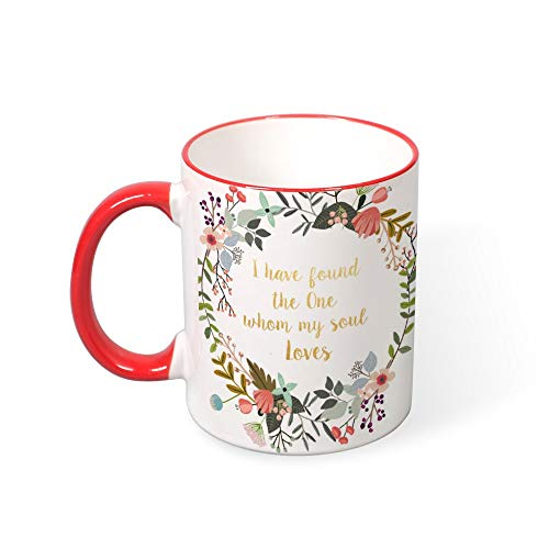 DKISEE I Have Found The One Whom My Soul Loves Color Coffee Mug Mouth and Handle Novelty 11oz Ceramic Mug Cup Birthday Christmas Anniversary Gag Gifts Idea